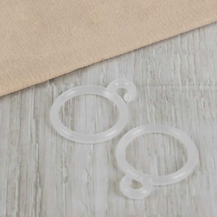 Кольцо для штор с крючком, d=35мм, цвет прозрачный