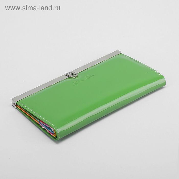 Кошелёк женский, 3 отдела, лакированный, цвет зелёный