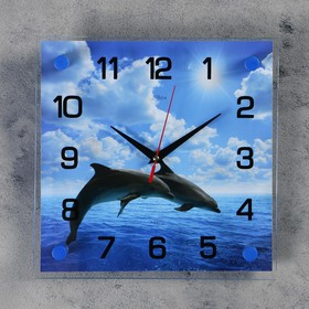 Часы настенные квадратные 'Дельфины в открытом море',  25х25 см микс Ош