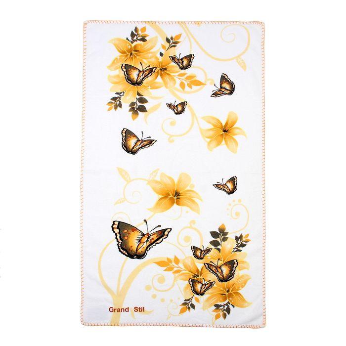 """Полотенце """"Этель"""" Весна желтый 68*135 см, 100% хлопок, велюр, 400гр/м2"""