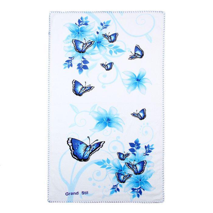"""Полотенце """"Этель"""" Весна голубой 68*135 см, 100% хлопок, велюр, 400гр/м2"""