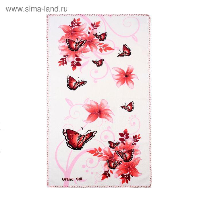 """Полотенце """"Этель"""" Весна красный 48*90 см, 100% хлопок, велюр, 400гр/м2"""