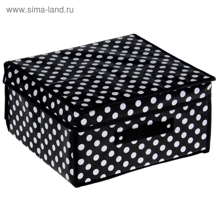 """Короб для хранения с крышкой 30х28х15 см """"Горошек"""", цвет черно-белый"""