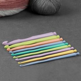 Крючки для вязания пластиковые, d = 2,8–10 мм, 8 см, 9 шт, цвет МИКС