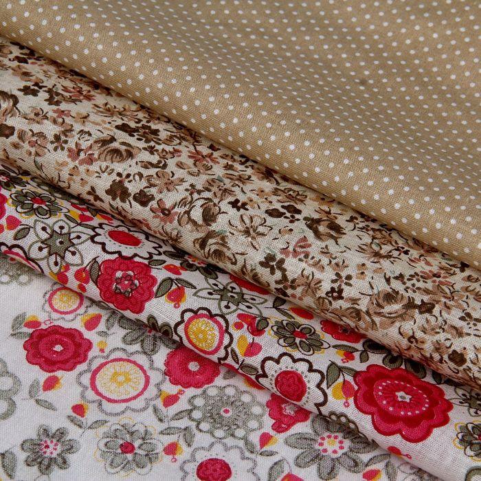 Набор ткани для пэчворка (3 шт)»Цветочное шале», 30 × 40 см