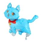 """Шар фольгированный 12"""" """"Кошечка с бантом"""" для палочки, цвет голубой"""