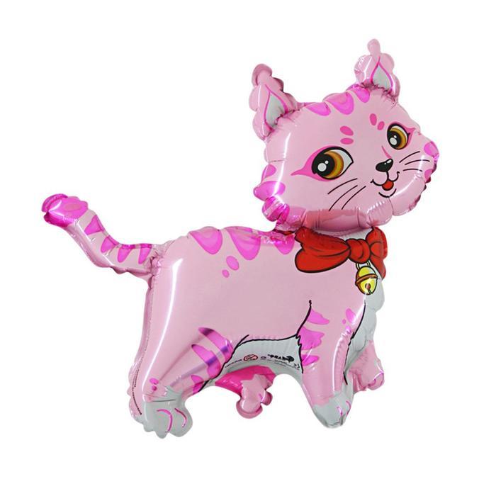 """Шар фольгированный 12"""" «Кошечка с бантом», для палочки, цвет розовый - фото 308466031"""