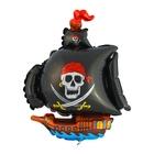 """Шар фольгированный 12"""" """"Пиратский корабль"""" для палочки, цвет чёрный"""