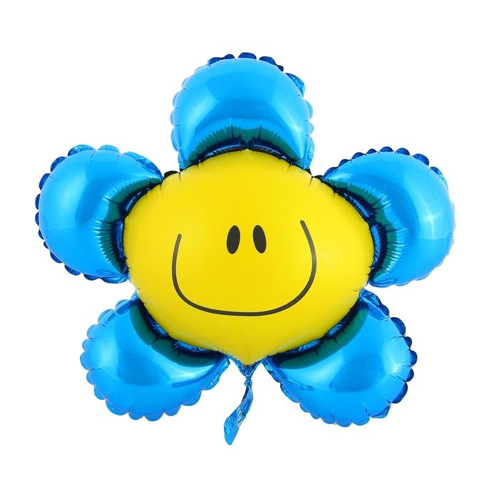 """Шар фольгированный 12"""" """"Цветок"""" для палочки, цвет синий"""