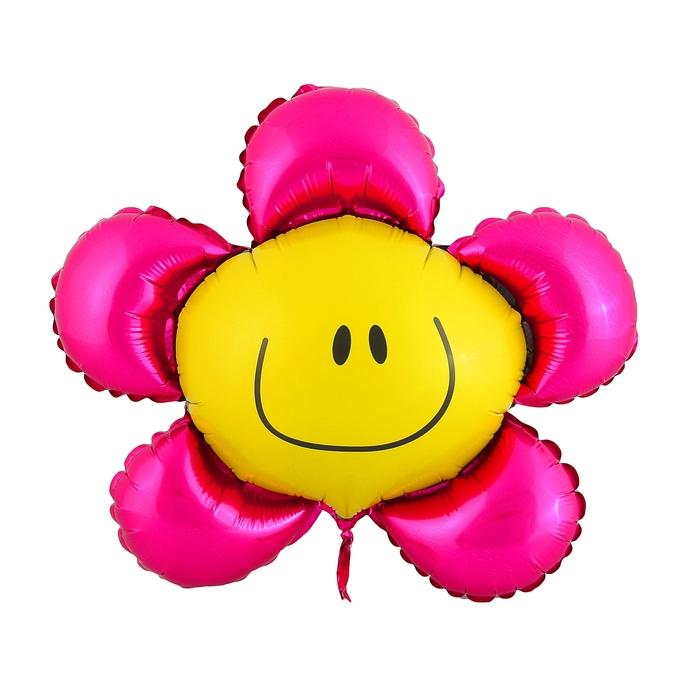 """Шар фольгированный 12"""" """"Цветок"""" для палочки, цвет розовый"""