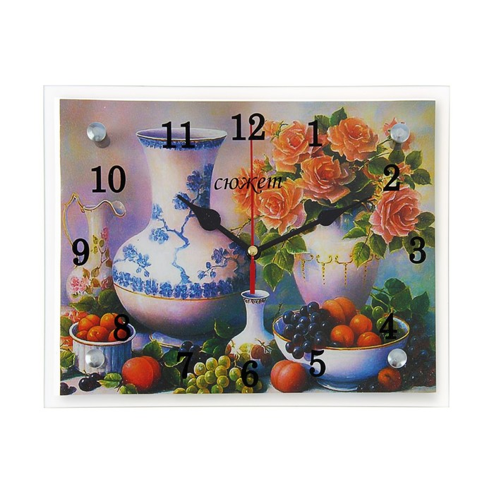 """Часы настенные, серия: Кухня, """"Вино и фрукты"""", 20х25 см"""