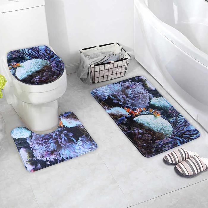 Набор ковриков для ванны и туалета «Морское дно», 3 шт: 38×46, 40×45, 45×75 см