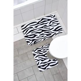 Набор ковриков для ванны и туалета Доляна «Зебра», 2 шт: 40×45, 50×80 см