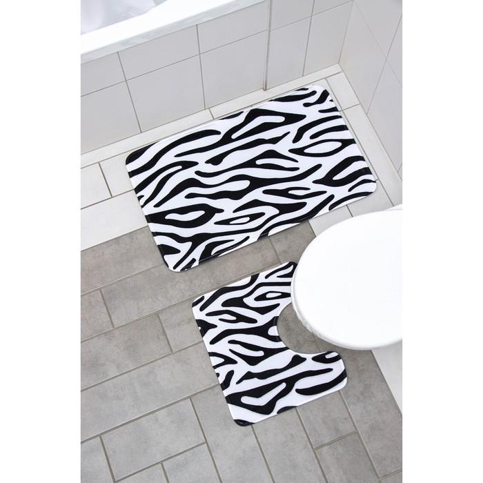 """Set of floor mats for bathroom and toilet """"Zebra"""" 2-piece"""