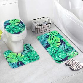Набор ковриков для ванны и туалета Доляна «Голубые листья», 3 шт: 41×45, 40×50, 45×75 см