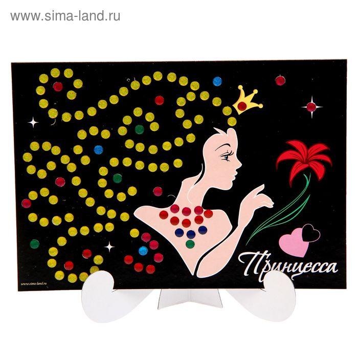 """Аппликация А5 """"Принцесса"""" с круглыми клеевыми стразами, 6 цветов"""