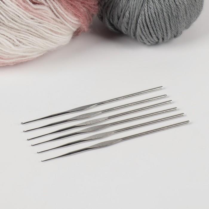 Набор крючков для вязания, d = 0,5-1 мм, 12 см, 6 шт, цвет серый