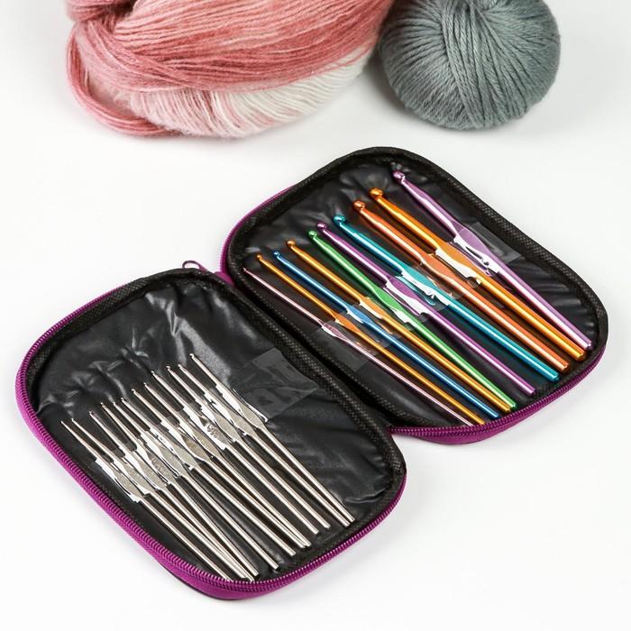Набор крючков для вязания, d = 0,6-6,5 мм, 13/18 см, 22 шт, цвет МИКС