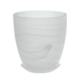 Горшок цветочный с поддоном №4, алебастр, белый матовый, 2 л