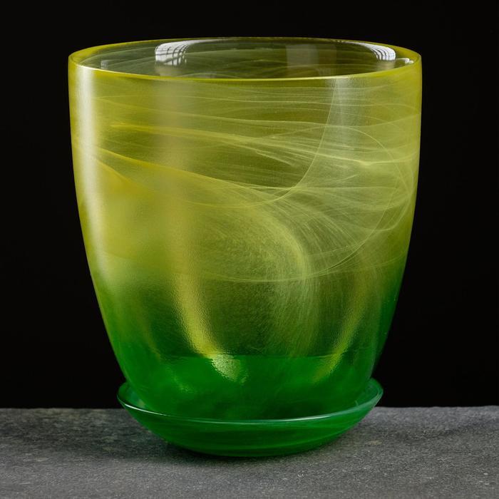 """Горшок цветочный с поддоном """"Гармония"""", жёлто-зелёное 2 л - фото 883920"""