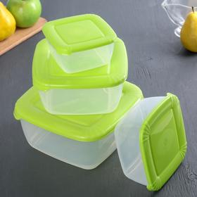 Набор пищевых контейнеров Plast team Polar, 4 шт: 460 мл, 950 мл, 1,5 л; 2,5 л, цвет МИКС