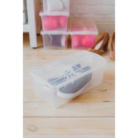 Ящик для хранения обуви, 38,5×20×14 см, цвет прозрачный