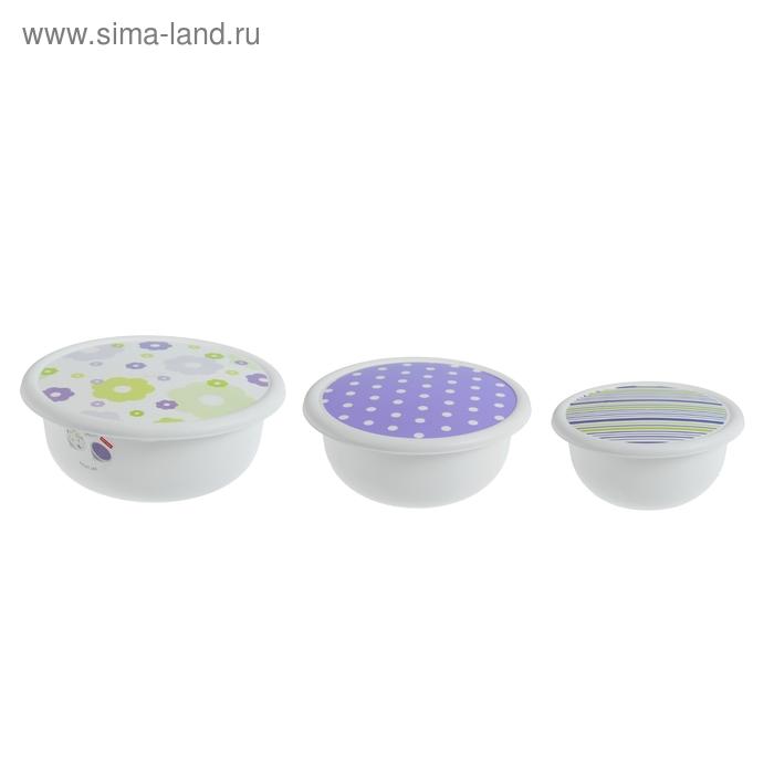 Набор мисок с крышками Violet Mix, 3 шт: 1,2 л; 2,1 л; 3,2 л