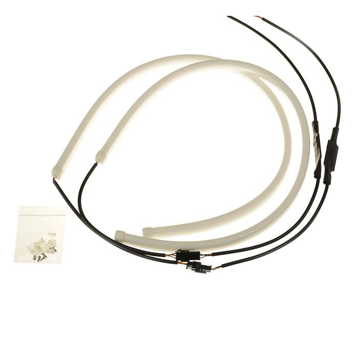 Светодиодная лента для фары Flexible, LED DRL-1, 60 см, 2шт, свет белый, при повороте жёлтый