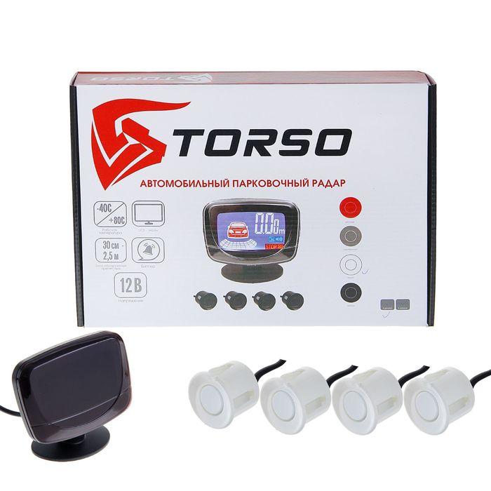 Парковочная система TORSO, 4 датчика, LСD-экран, биппер, 12 В, датчики белые