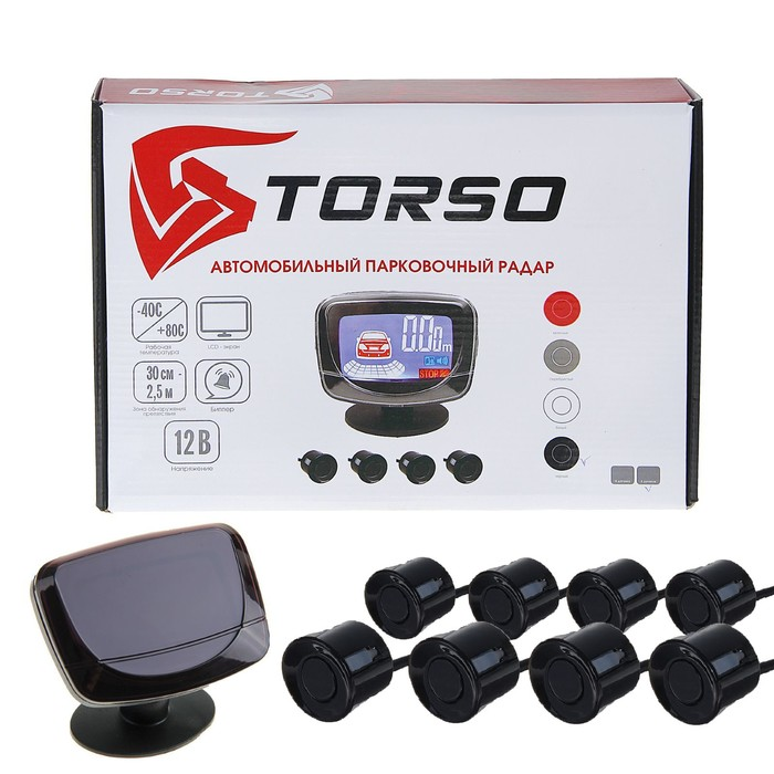 Парковочная система TORSO, 8 датчиков, LСD-экран, биппер, 12 В, датчики чёрные