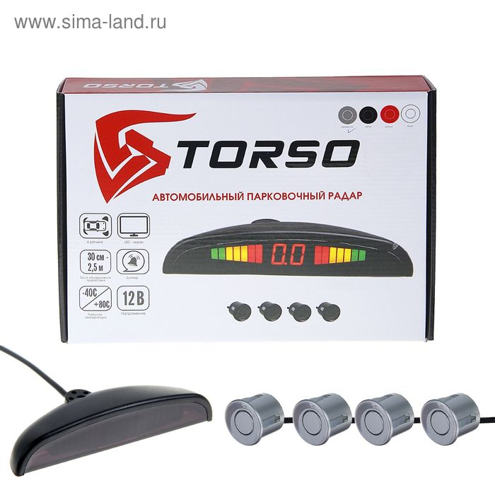 Парктроник TORSO TP-202, 4 датчика, LED-экран, биппер, 12 В, датчики серебристые
