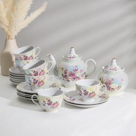 Сервиз чайный «Гранатовый. Багульник», 20 предметов: чайник 900 мл, сахарница 600 мл, 6 тарелок 17,5 см, 6 чашек 275 мл, 6 блюдец 15 см
