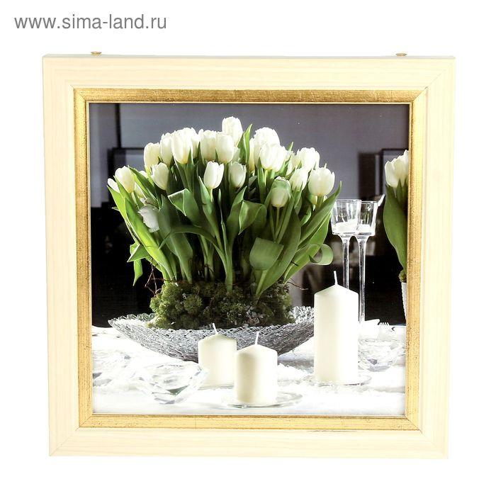 """Ключница """"Тюльпаны со свечами"""" клён с золотом"""