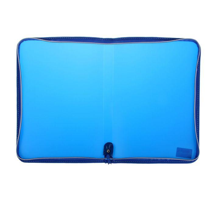Папка пластиковая А4, молния вокруг, Офис цветная, текстура поверхности «песок», синяя - фото 447540368