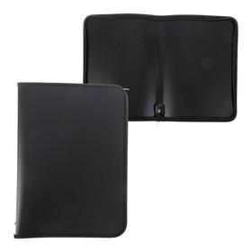 Папка пластиковая А4, молния вокруг, «Офис», цветная, текстура поверхности «песок», ПМ-А4-11, чёрная