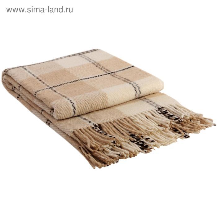 "Плед шерстяной ""Эльф"", размер 200х220 см, цвет белый/бежевый/коричневый"