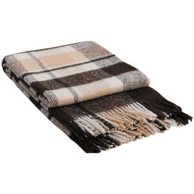 "Плед шерстяной ""Метро"", размер 170х210 см, цвет белый/бежевый/коричневый"