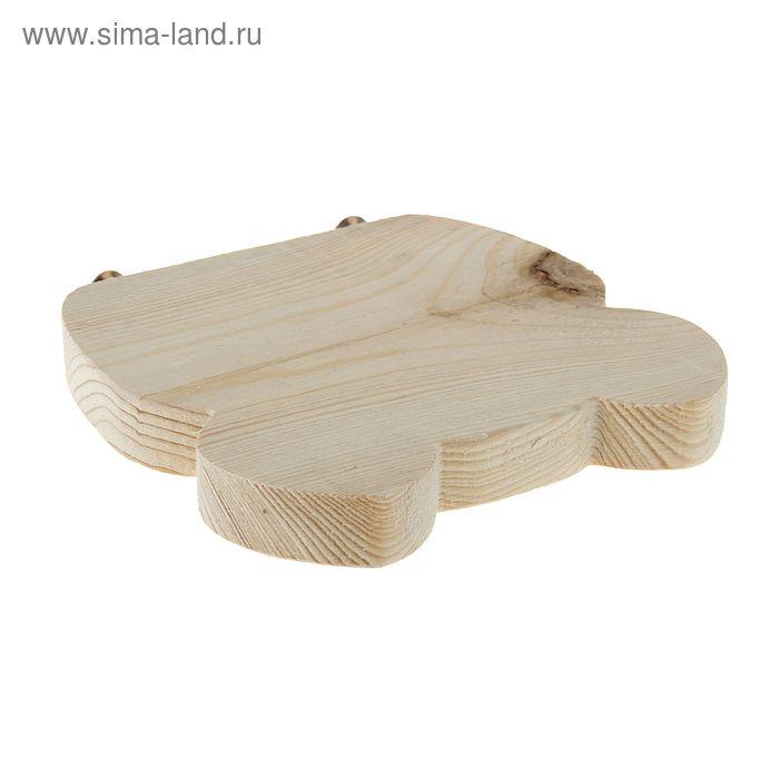 Деревянный навесной  подиум  для клетки с креплением, фигурный, 14х14х2 см