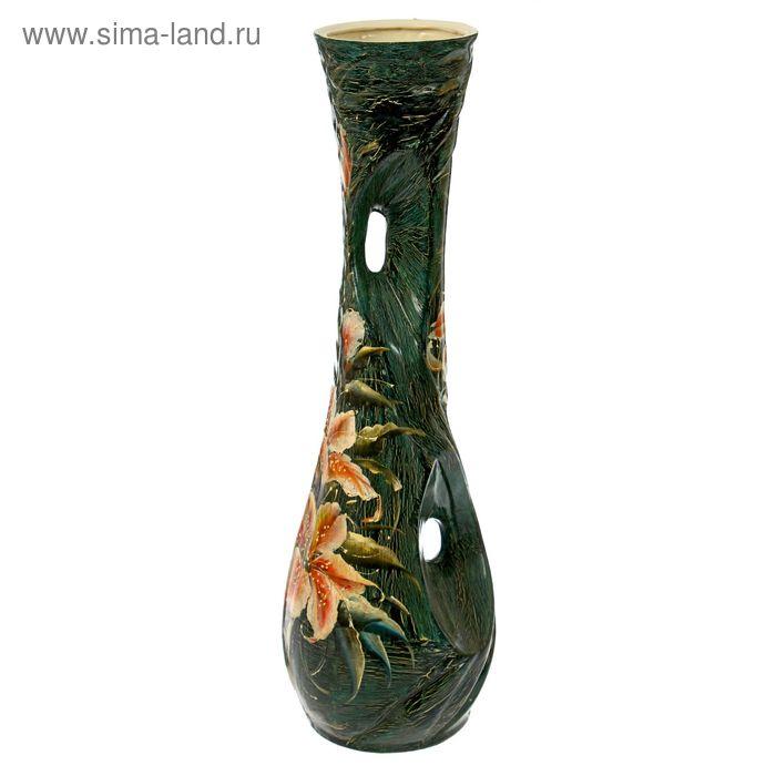 """Ваза напольная """"Нимфа"""" кракелюр, зелёная"""