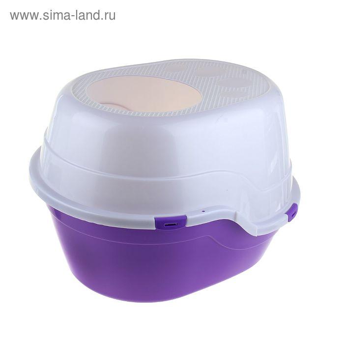 Туалет большой с крышей, 52 х 55 х 43 см, фиолетовый/белый