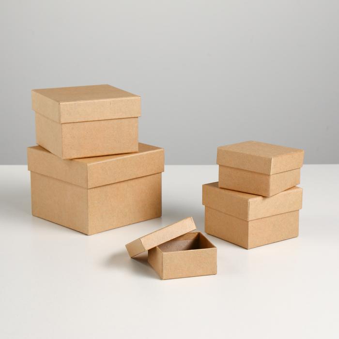 "Набор коробок 5в1 ""Крафт однотонный"" 12 х 12 х 9 - 6 х 6 х 3 см - фото 797675378"