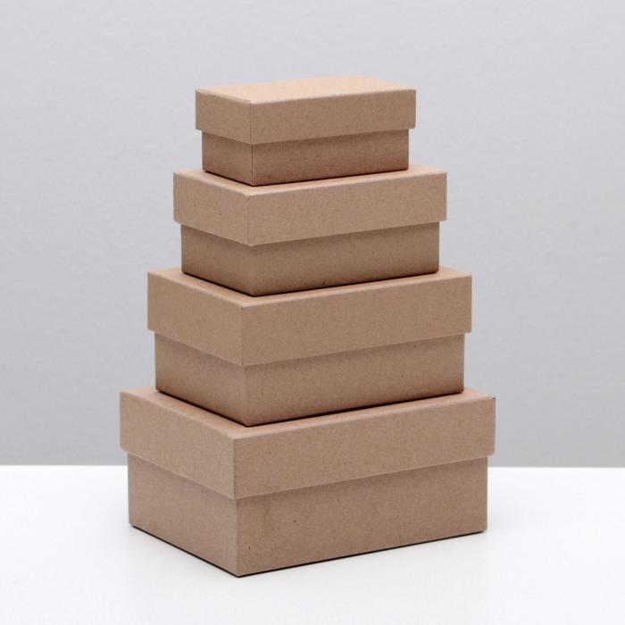 "Набор коробок 4в1 ""Крафт однотонный"", 15 х 11 х 7 - 9 х 5 х 4 см"
