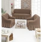 Чехол для мягкой мебели DO&CO DIVAN KILIFI 3-х предметный, цвет серо-коричневый