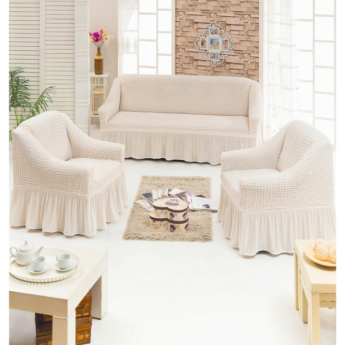 Чехол для мягкой мебели DO&CO DIVAN KILIFI 3-х предметный, цвет кремовый