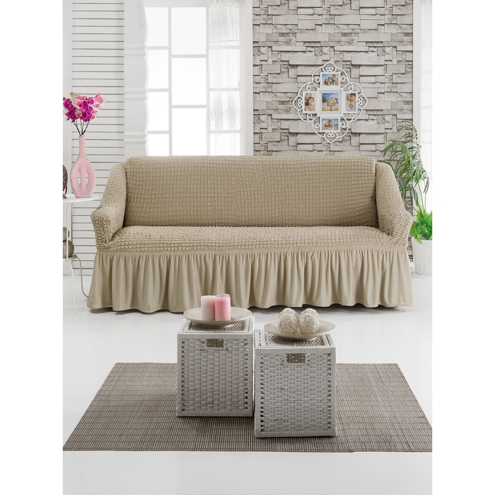 Чехол для мягкой мебели DO&CO DIVAN KILIFI на диван 3-х местный, цвет молочный