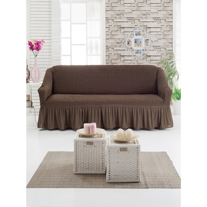 Чехол для мягкой мебели DO&CO DIVAN KILIFI на диван 3-х местный, цвет шоколад