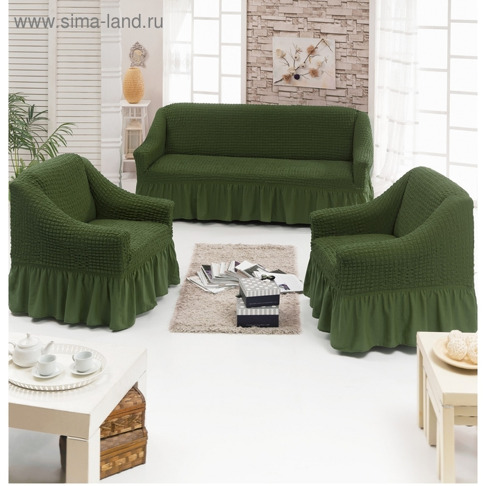 Чехол для мягкой мебели DO&CO DIVAN KILIFI 3-х предметный, цвет оливковый