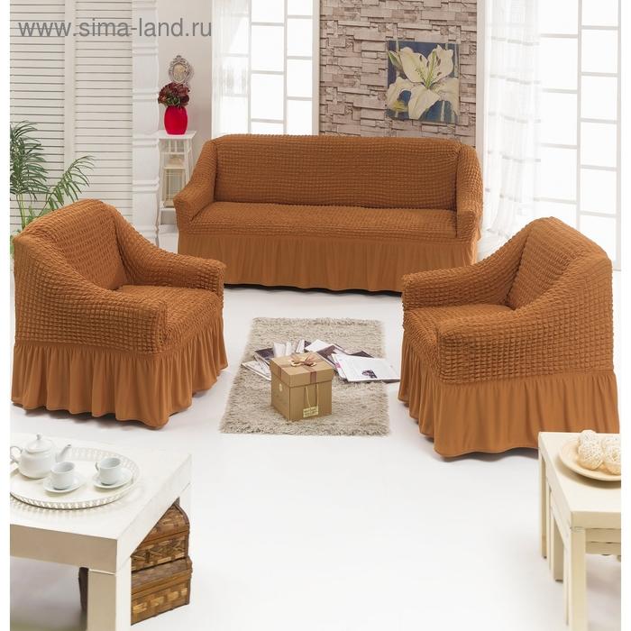 Чехол для мягкой мебели DO&CO DIVAN KILIFI 3-х предметный, цвет рыже-коричневый