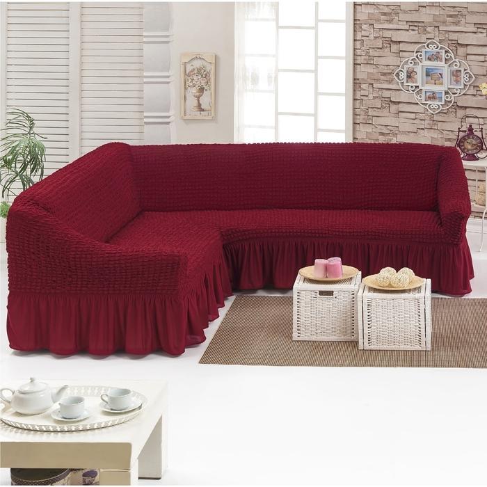 Чехол для мягкой мебели DO&CO KOSELIK, угловой диван 3-х местный, цвет бордо
