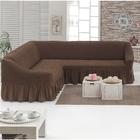 Чехол для мягкой мебели DO&CO KOSELIK, угловой диван 3-х местный, цвет шоколад